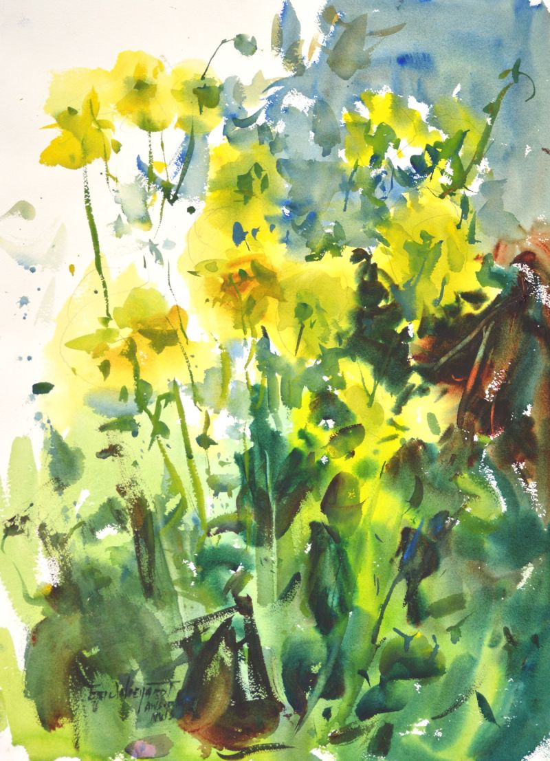 4292 Yellow Dahlias, original watercolor painting by Eric Wiegardt AWS-DF, NWS