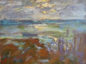 3301 Oyster Scow, original acrylic painting by Eric Wiegardt AWS-DF, NWS