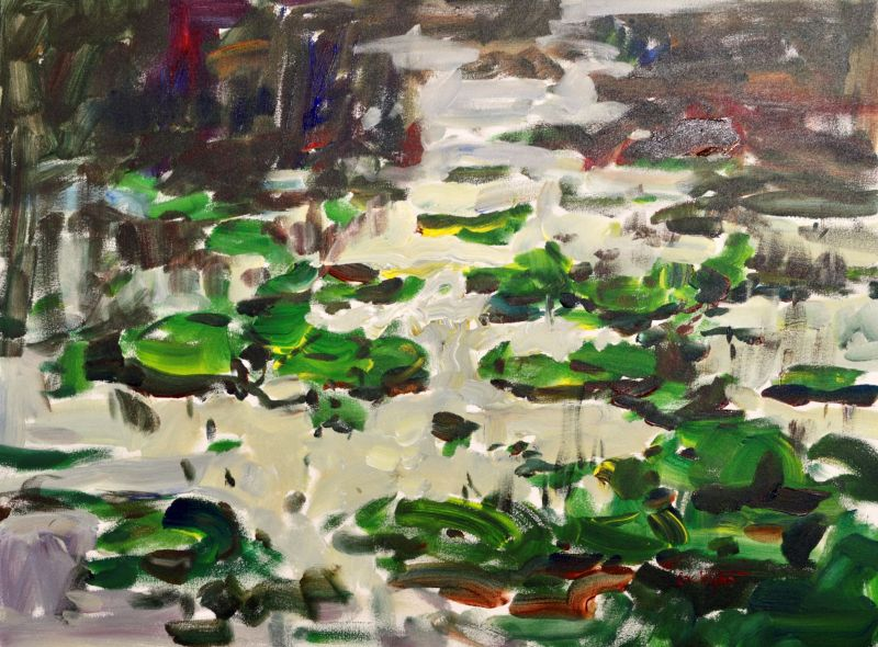 3749 Waterlilies, original acrylic painting by Eric Wiegardt AWS-DF, NWS