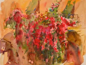 4222 Bougainvillea, original watercolor painting by Eric Wiegardt AWS-DF, NWS222 Bougainvillea
