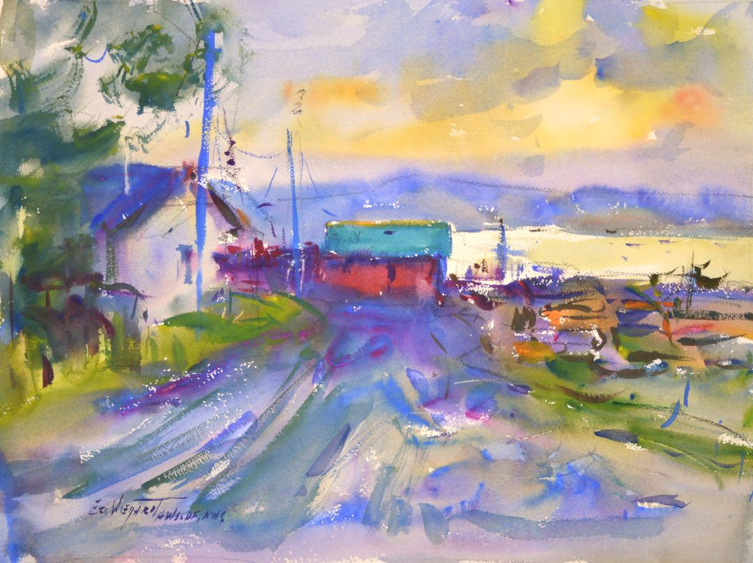 4302 Nahcotta Morning, original watercolor painting by Eric Wiegardt AWS-DF, NWS