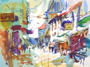 4307 Constance Bustle, original watercolor painting by Eric Wiegardt AWS-DF, NWS