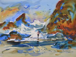Cannon Beach, original watercolor painting by Eric Wiegardt AWS-DF, NWS