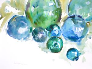 4139 Glass Floats #3, original watercolor painting by Eric Wiegardt AWS-DF, NWS
