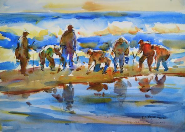 Clamdigger's Notecard, blank giclee watercolor by Eric Wiegardt AWS-DF, NWS