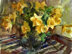 Daffodils Notecard, blank giclee watercolor print by Eric Wiegardt AWS-DF, NWS