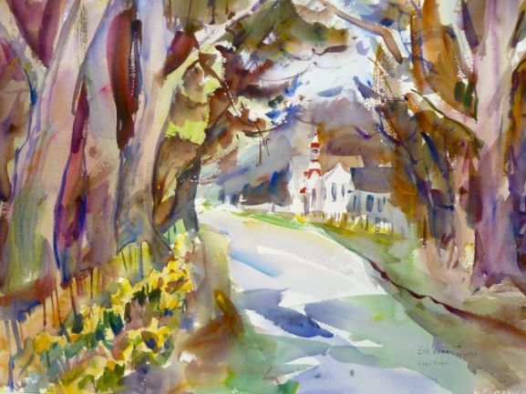 Oysterville Giants and Daffodils Notecard, blank giclee watercolor print by Eric Wiegardt AWS-DF, NWS