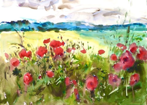 Poppies Notecard, blank giclee watercolor print by Eric Wiegardt AWS-DF, NWS