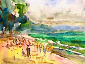 Waikiki Beach Notecard, blank giclee watercolor print by Eric Wiegardt AWS-DF, NWS
