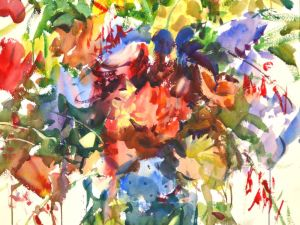 4250 Floral, original watercolor by Eric Wiegardt AWS-DF, NWS