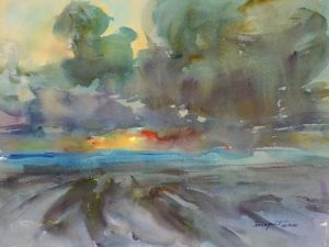 4289 Ocean Park Sunset, original watercolor painting by Eric Wiegardt AWS-DF, NWS