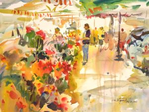 4322 Saturday Market - Nice, France, original watercolor painting by Eric Wiegardt AWS-DF, NWS