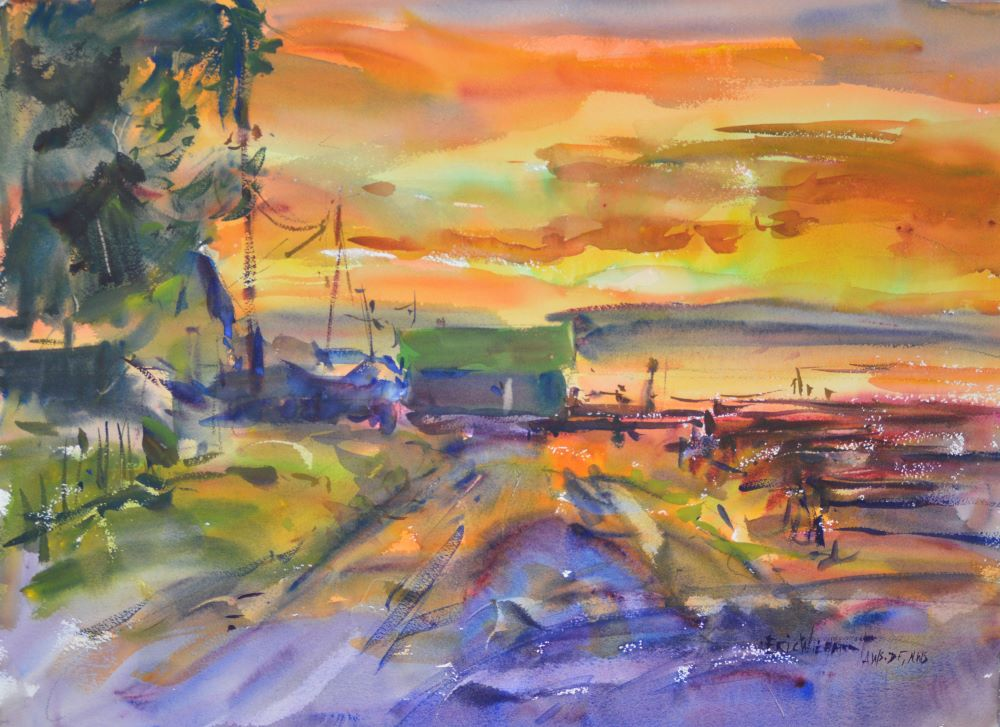 4328 Nahcotta Sunrise, original watercolor painting by Eric Wiegardt AWS-DF, NWS