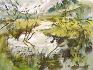 4335 Beard's Hollow Marsh, original watercolor painting by Eric Wiegardt AWS-DF, NWS