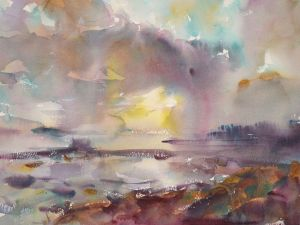 4337 Sunrise on Willapa, original watercolor painting by Eric Wiegardt AWS-DF, NWS