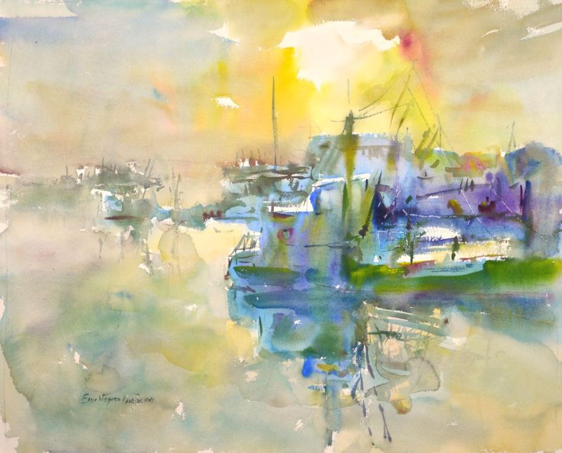 4353 Sunrise on Oyster Dredge, original watercolor painting by Eric Wiegardt AWS-DF, NWS