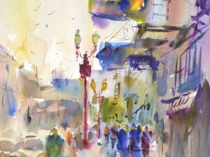 4362 Chinatown, Portland, original watercolor painting by Eric Wiegardt AWS-DF, NWS