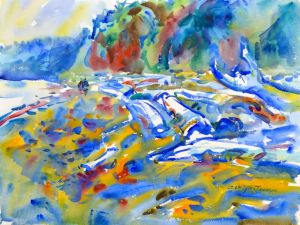 3955 Drift, original watercolor painting by Eric Wiegardt AWS-DF, NWS