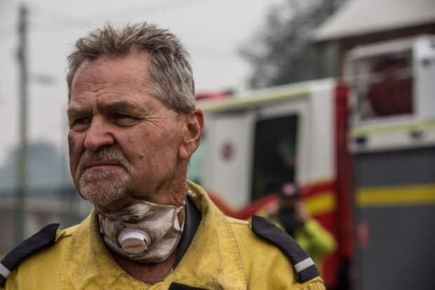 John from Jamberoo Rural Fire Service at Wingello, which lost a number of houses last night from the bushfires. Photograph: Jessica Hromas/The Guardian