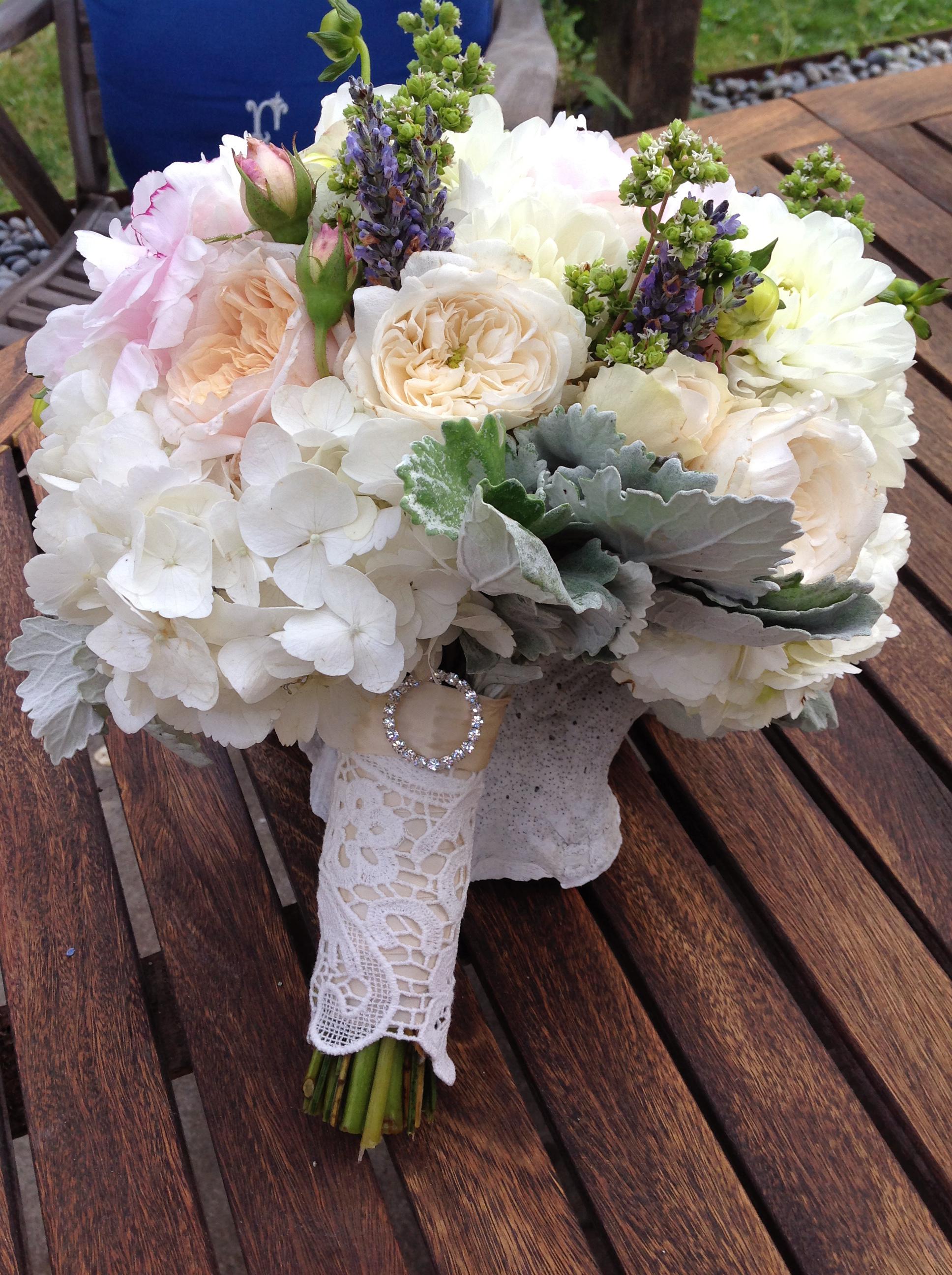 Erika Anderson Designs wedding bouquet with hydrangeas
