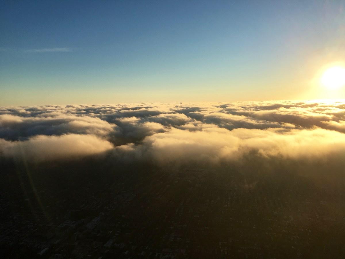 Hot air balloon ride sunrise over Melbourne