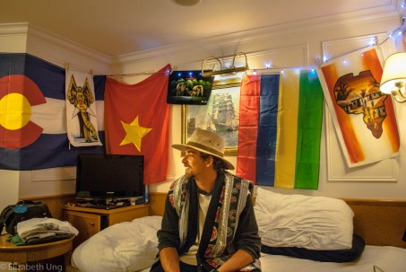 "MV World Odyssey, 2016. Peter Ahlstrand from Oregon State University was prepared to decorate his outside double room by bringing lights to hang up with his souvenirs. After every country, he adds a memory on the wall. He quotes, ""A boring room is a boring life."""