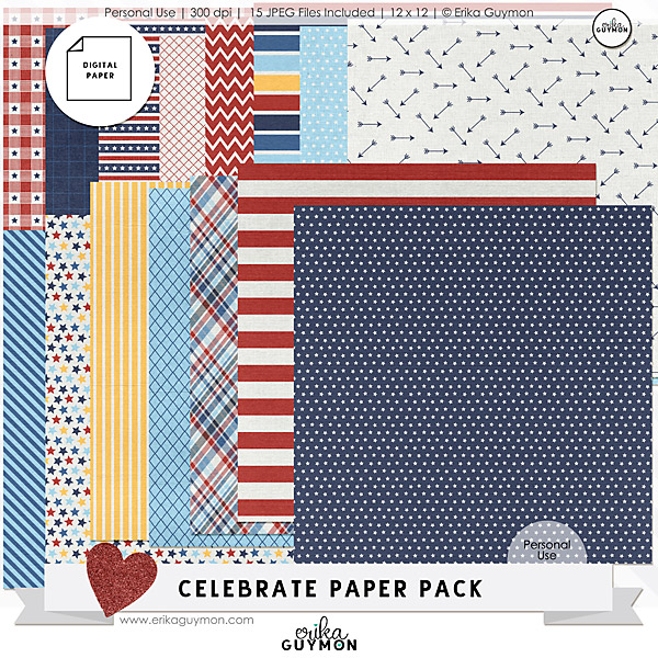 4th of July | Digital Paper Pack | Celebrate | Personal Use | Erika Guymon