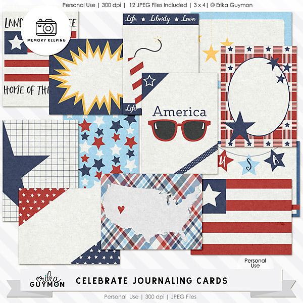 4th of July   Digital Journaling Cards   Celebrate   Erika Guymon