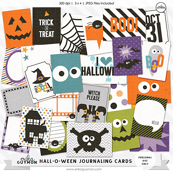 Halloween Themed Digital journaling Cards | Erika Guymon