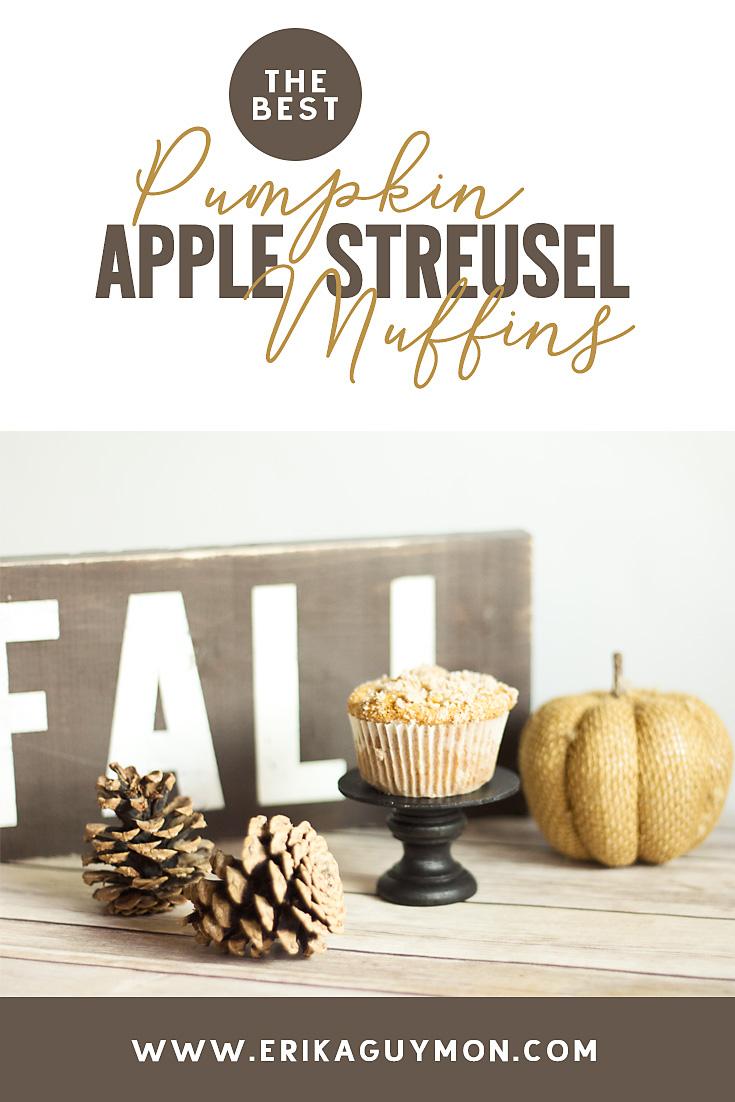 The perfect fall comfort food! Pumpkin Apple Streusel Muffins