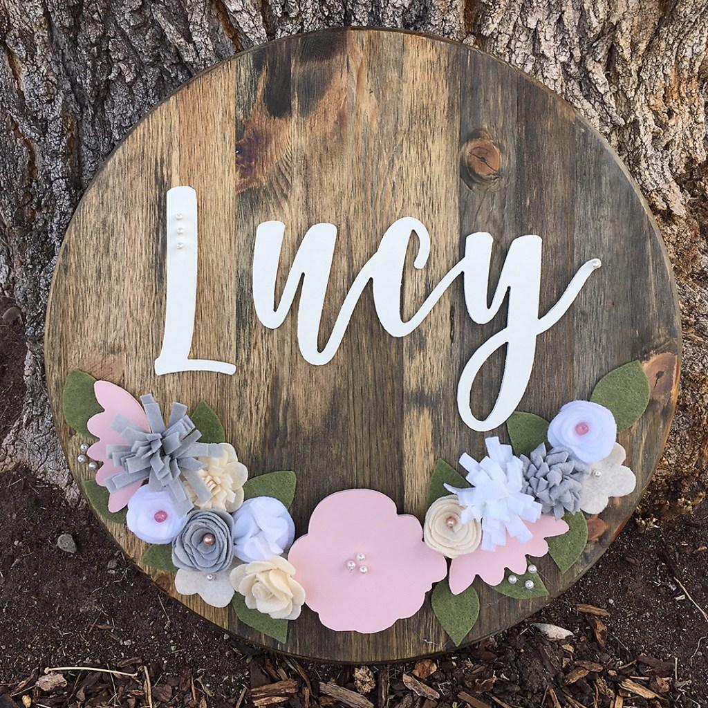Nursery Round Wood Sign Gir | Made by Erika Guymonl