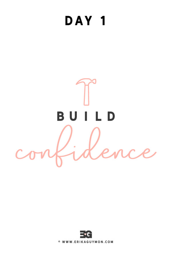 """Build Confidence"" wordart with hammer icon."