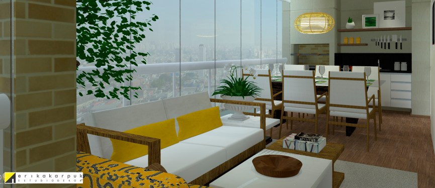 Varanda gourmet preparada para receber a família. Apartamento Clássico Contemporâneo em SP projeto Erika karpuk
