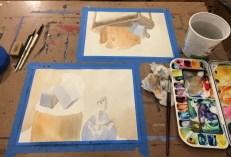 In progress still life paintings.