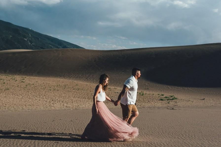 sand dunes engagement photos