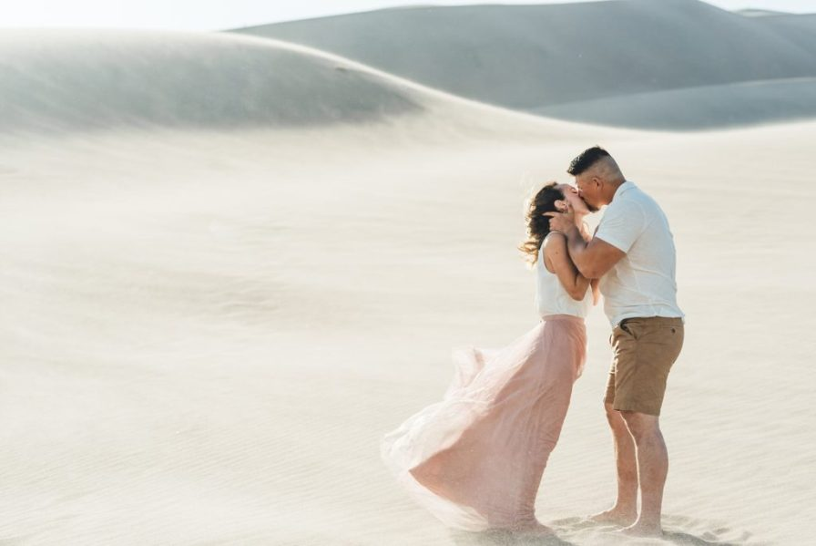pink dress blowing in wind