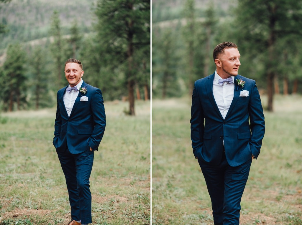 groom in Calvin Klein suit, blue suit