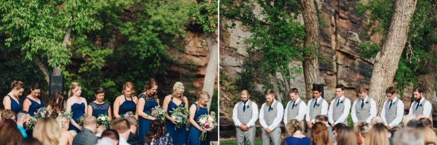 bridesmaids and groomsmen at the ceremony