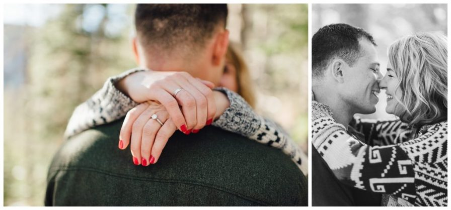 Close up engagement photos, couple almost kissing photos