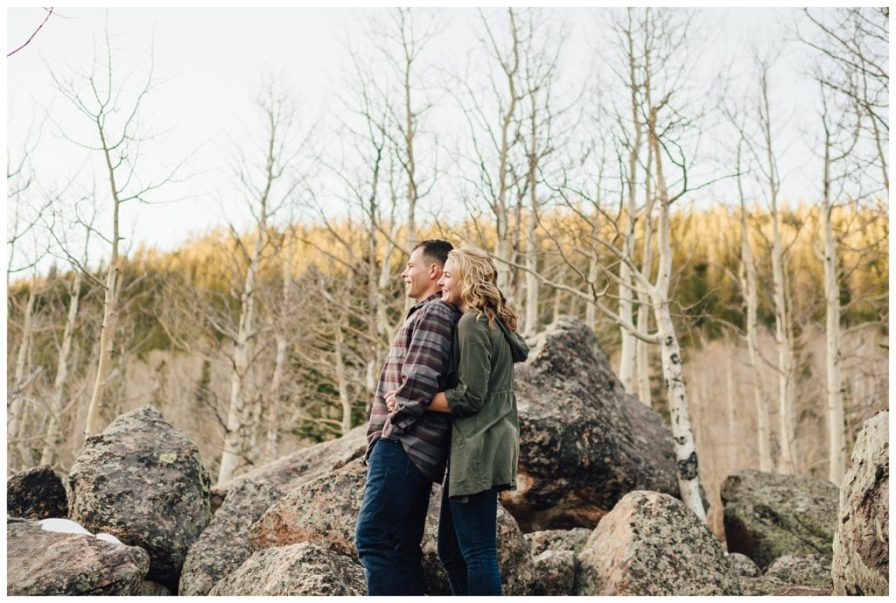 Sunset engagement portraits in RMNP