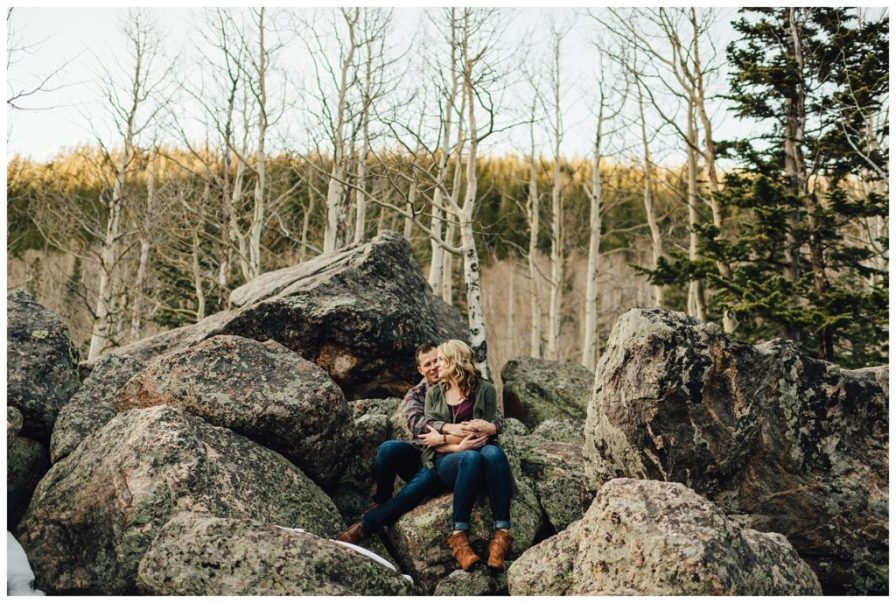 Hiking engagement photos in Rocky Mountain National Park