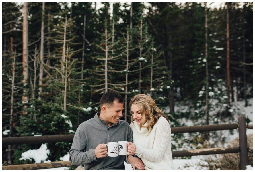 Winter engagement photos in Rocky Mountain National Park