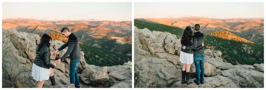 Couple hiking for their Lost Gulch engagement session in Boulder, Colorado. Photos by Erika Overholt Photography.