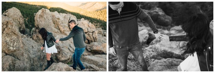 Couple hiking around Lost Gulch in Boulder, Colorado. Photos by Erika Overholt Photography.