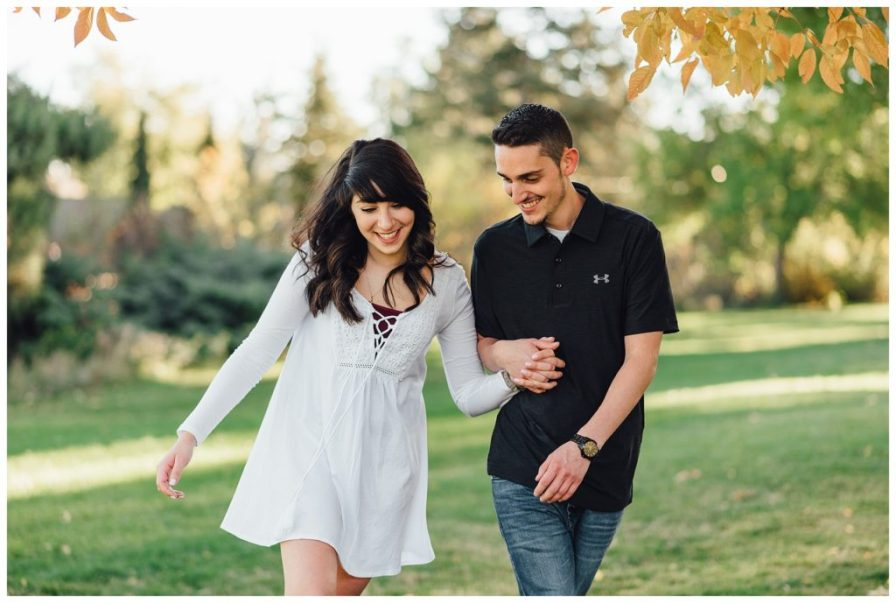 Engagement photos at Chautauqua Park in Boulder, Colorado. Photos by Erika Overholt Photography.