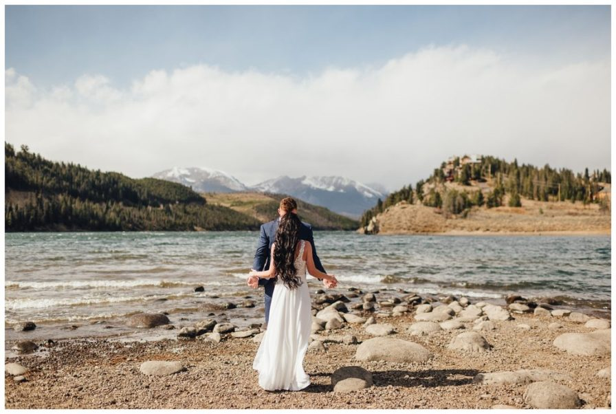 Wedding near Dillon Reservoir. First look location ideas