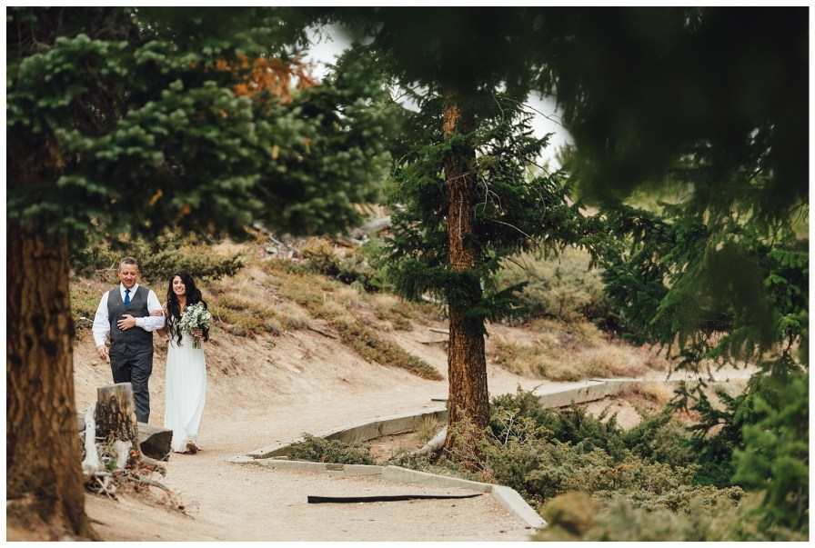 Bride walks down the path to her groom at Sapphire Point
