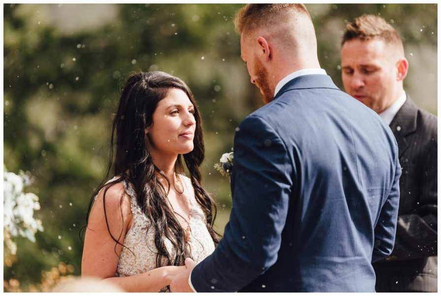 It started snowing during their ceremony at Sapphire Point