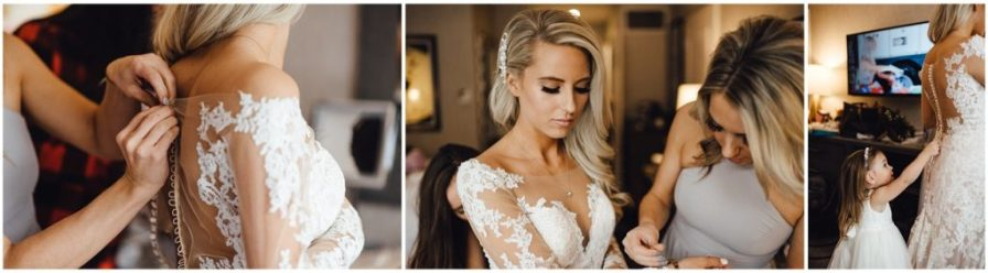 This bride has lots of help getting ready for her wedding day
