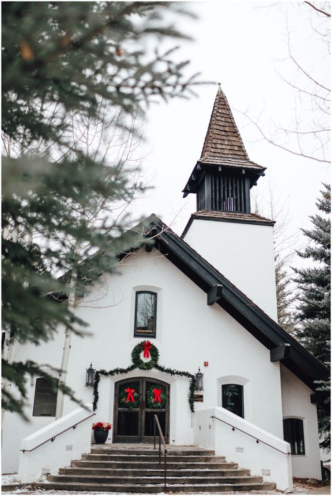 Beautiful chapel in Vail Colorado for a snowy winter elopement